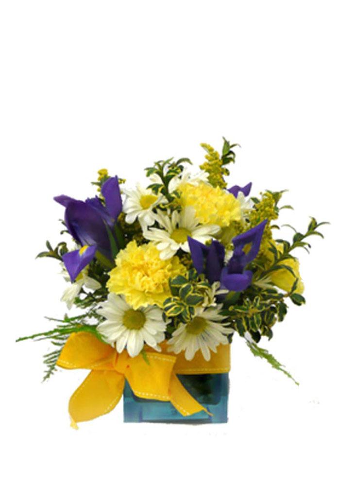 . A contemporary flower arrangement in blue cube vase