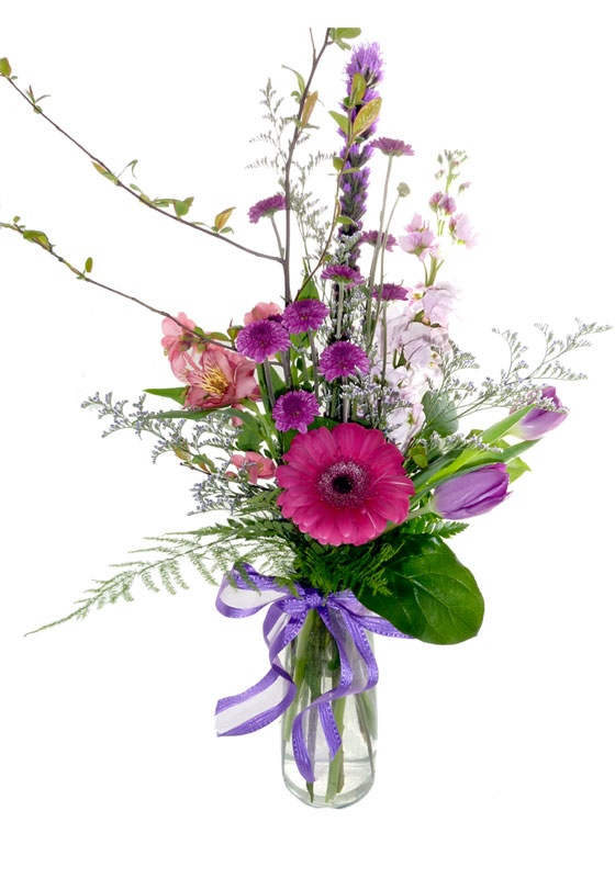 This large bud vase flower arrangement comes with fun spring flowers click to enlarge mightylinksfo
