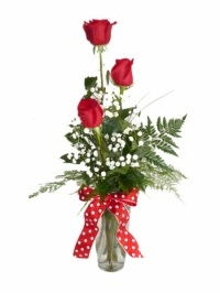 Simply Red Roses Bud Vase